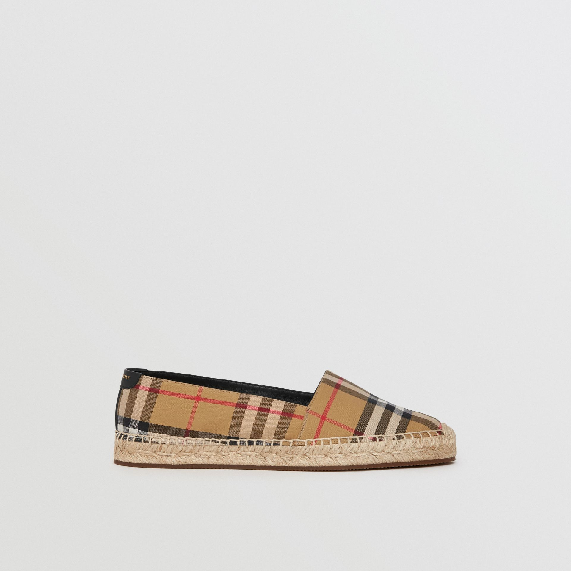 Vintage Check and Leather Espadrilles in Antique Yellow - Women | Burberry - gallery image 5