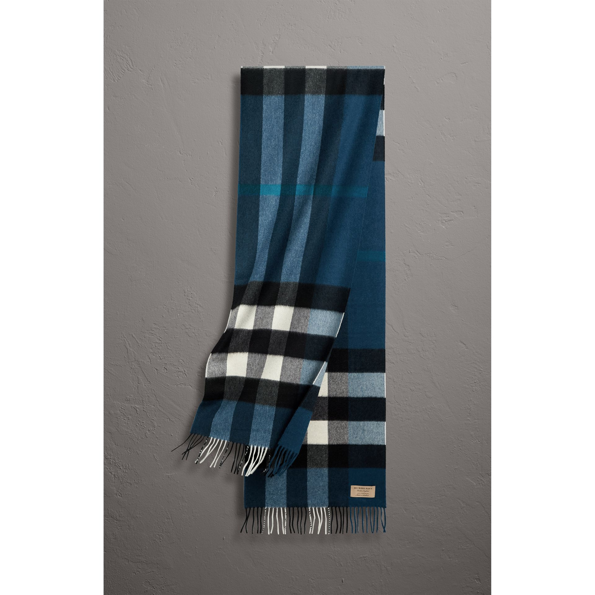 The Large Classic Cashmere Scarf in Check in Marine Blue | Burberry United States - gallery image 1