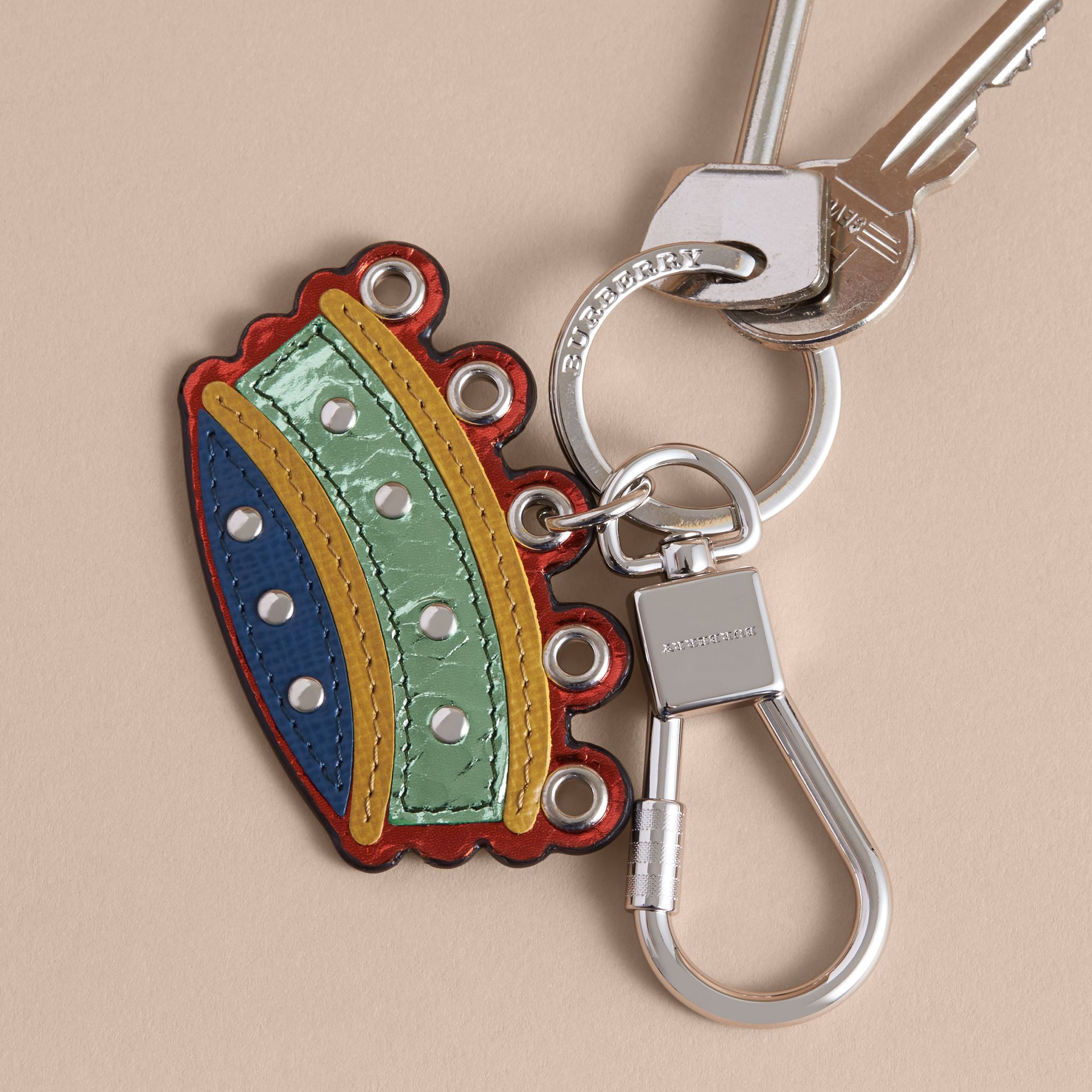 Snakeskin and Leather Crown Key Ring - gallery image 3