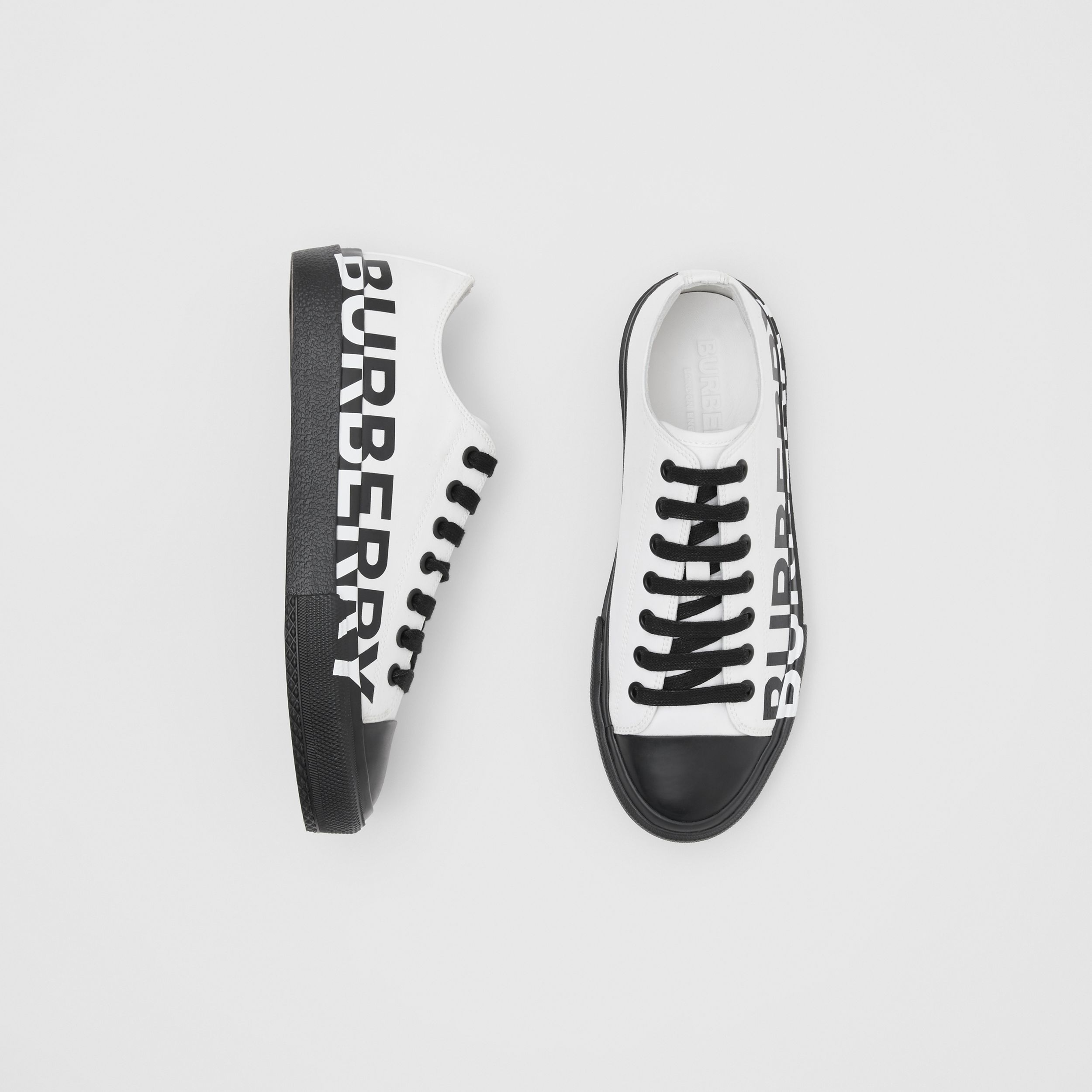 Logo Print Two-tone Cotton Gabardine Sneakers in Optic White/black - Women | Burberry - 1