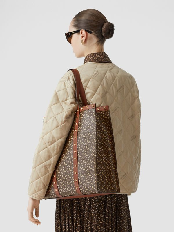 Monogram Print E-canvas Portrait Tote Bag in Tan | Burberry Canada - cell image 2