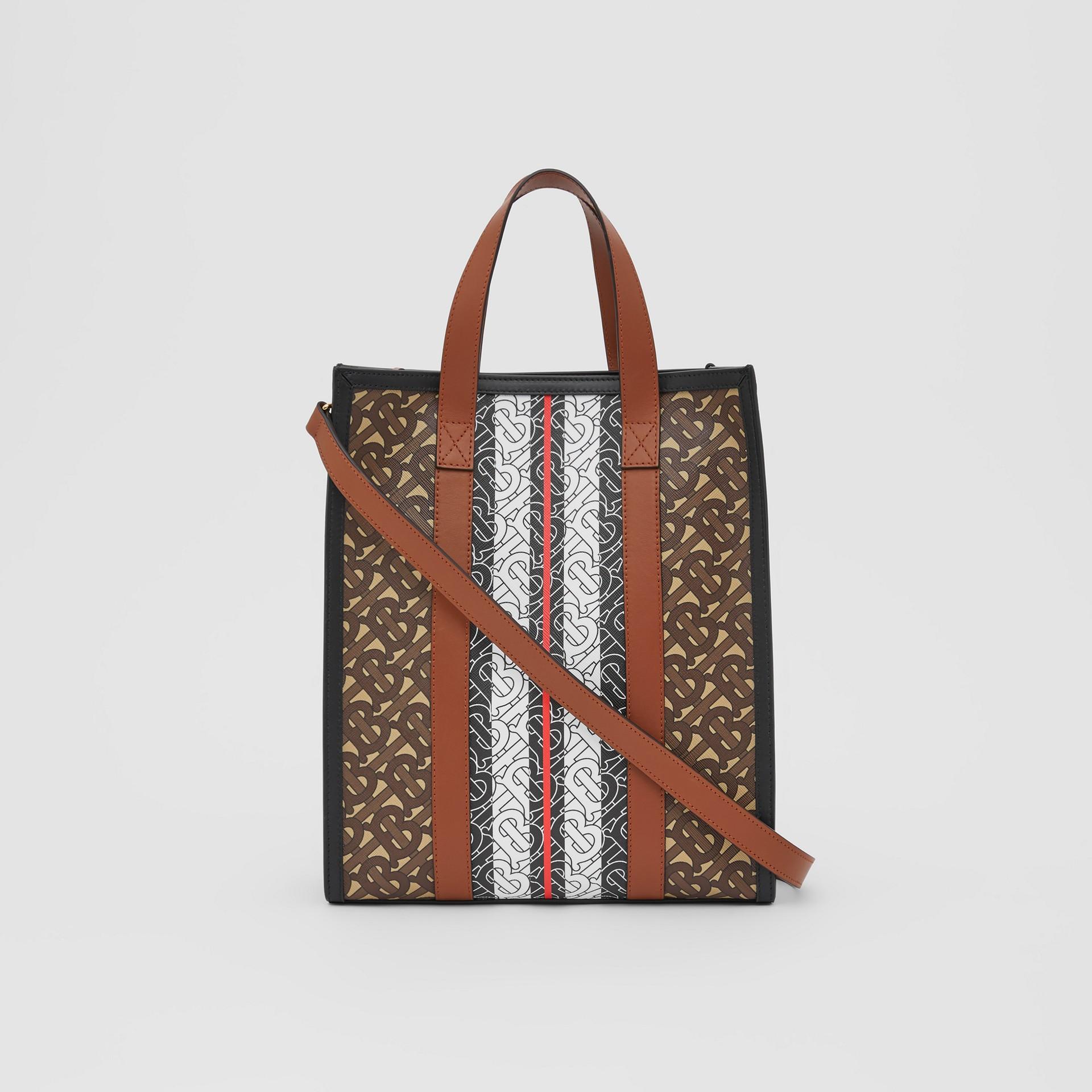 Small Monogram Stripe E-canvas Portrait Tote Bag in Bridle Brown - Women   Burberry United Kingdom - gallery image 5