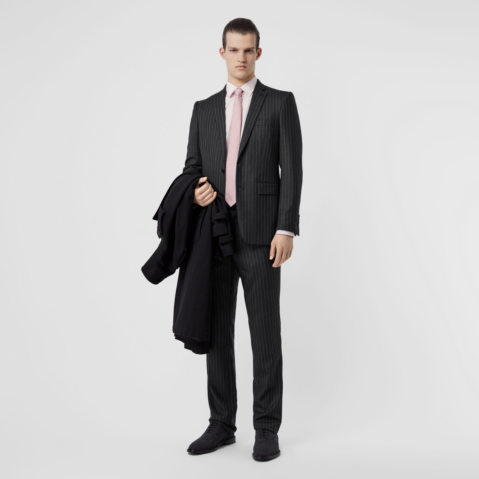 English Fit Pinstriped Wool Suit in Mid Grey Melange - Men | Burberry United Kingdom - gallery image 0