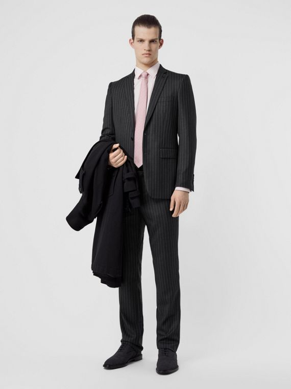 English Fit Pinstriped Wool Suit in Mid Grey Melange