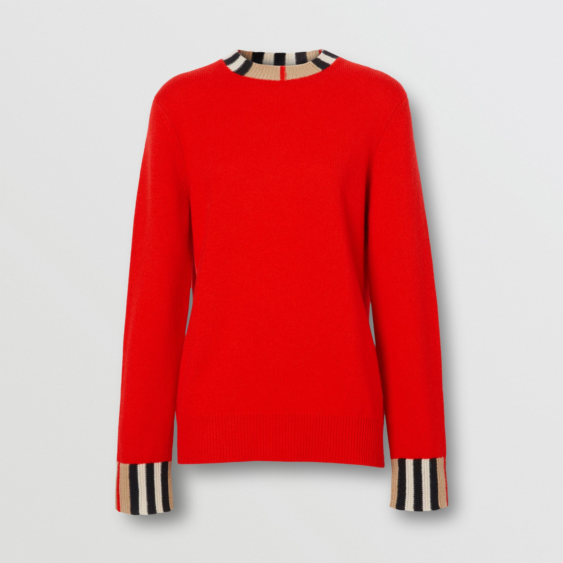 Icon Stripe Trim Cashmere Sweater in Bright Red - Women | Burberry - gallery image 3