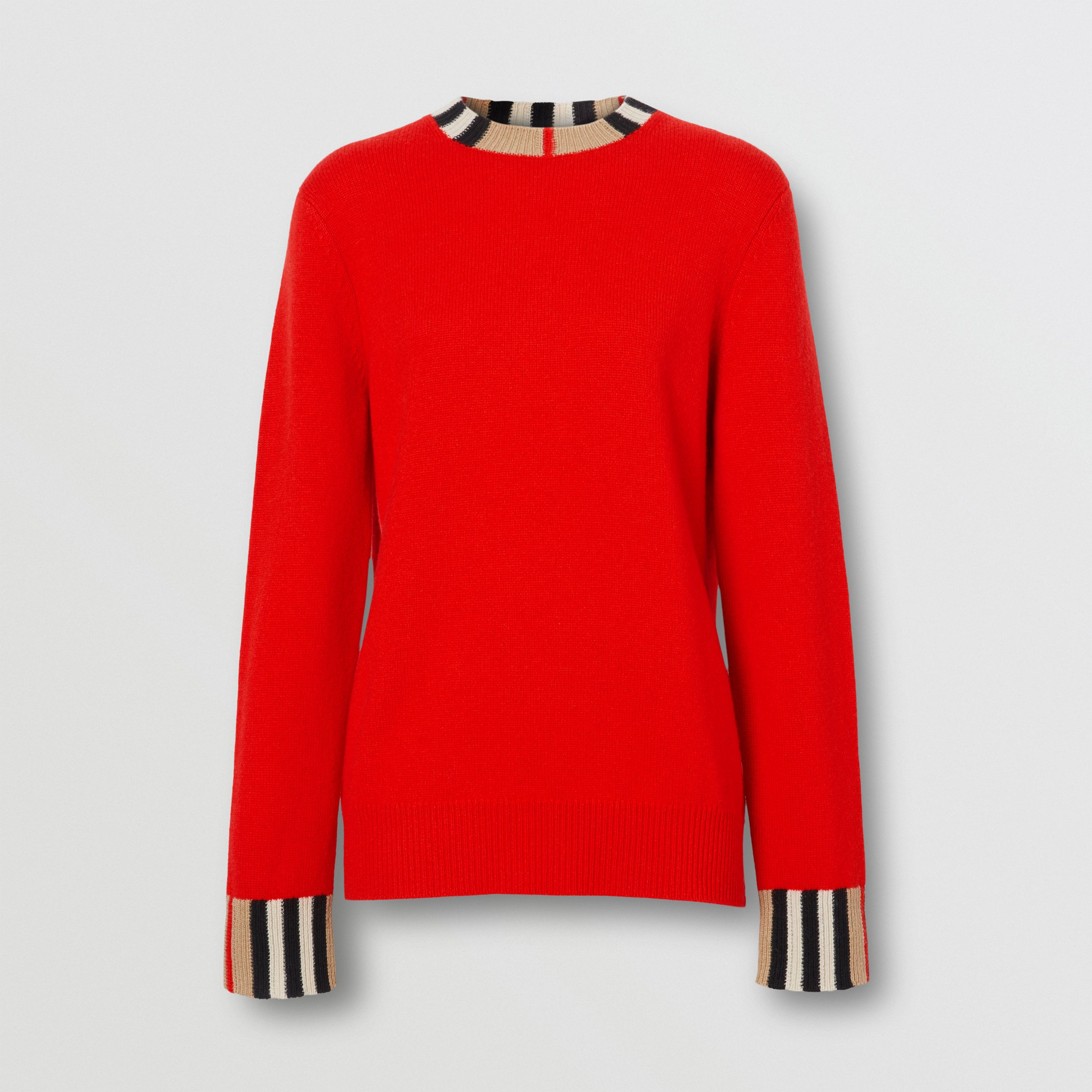 Icon Stripe Trim Cashmere Sweater in Bright Red - Women | Burberry - 4