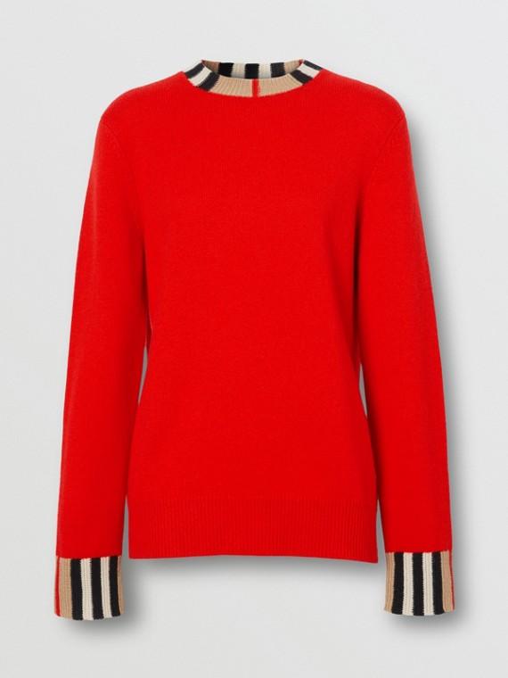 Icon Stripe Trim Cashmere Sweater in Bright Red