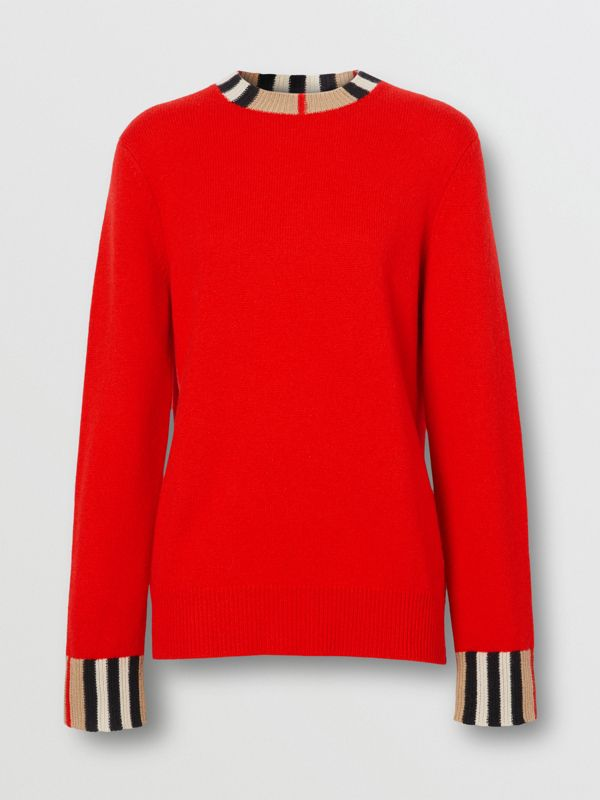 Icon Stripe Trim Cashmere Sweater in Bright Red - Women | Burberry - cell image 3