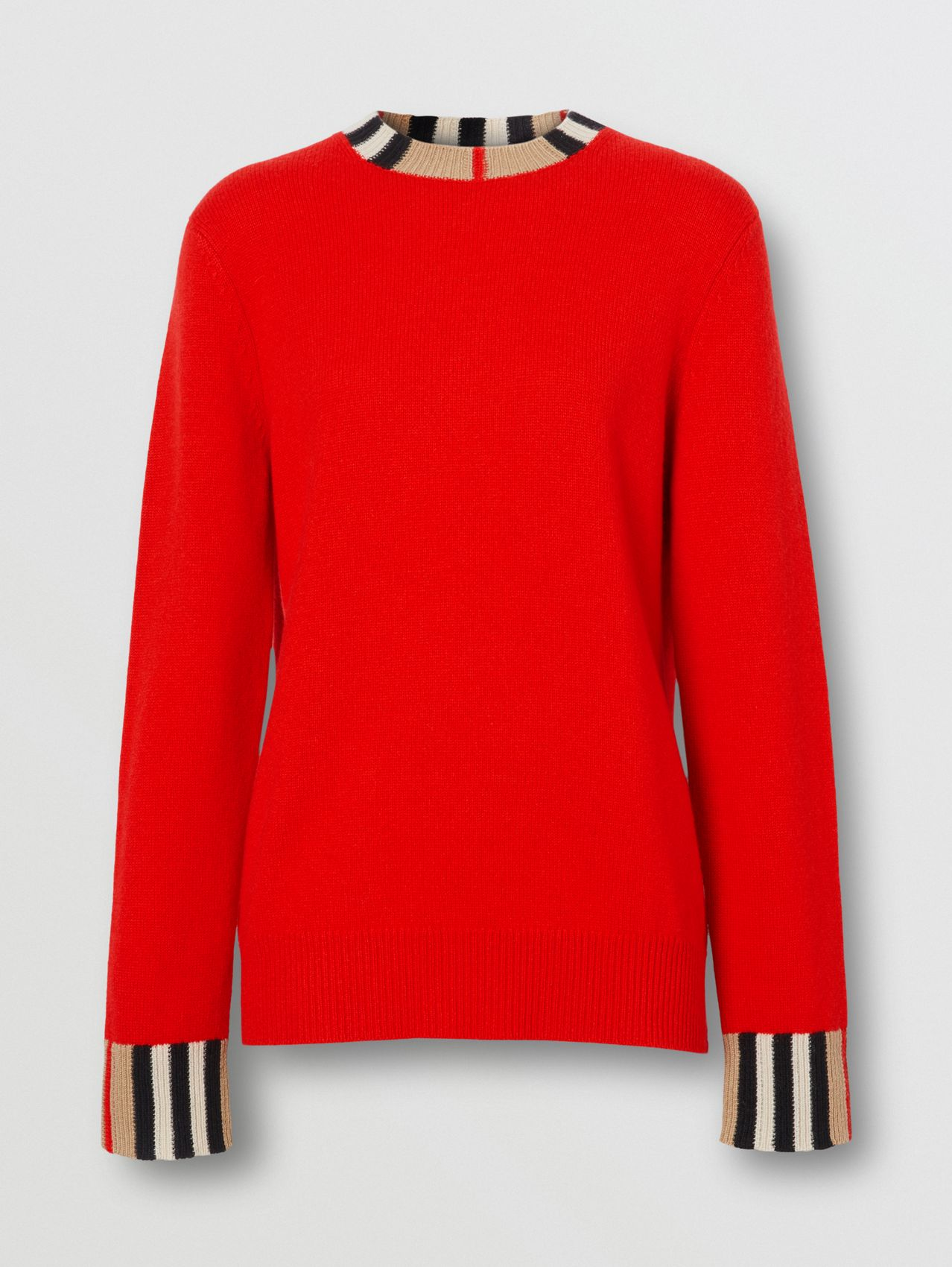 Icon Stripe Trim Cashmere Sweater (Bright Red)