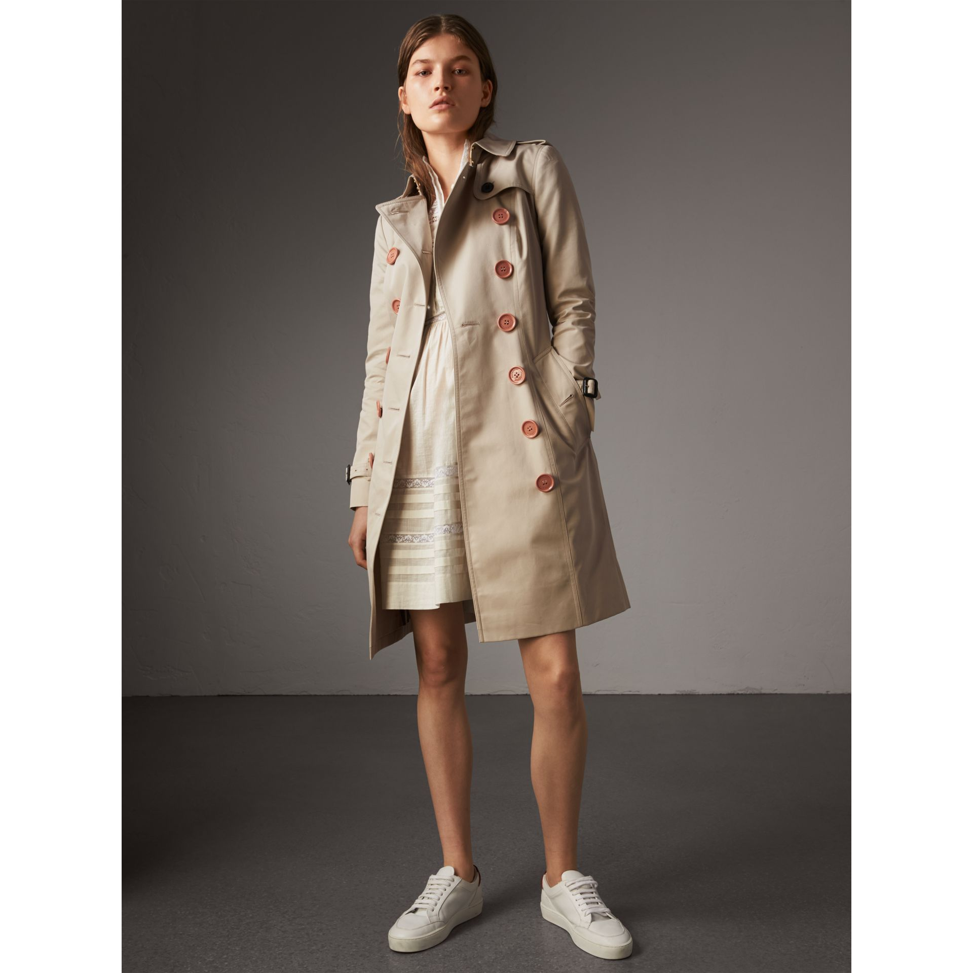 Resin Button Cotton Gabardine Trench Coat in Stone - Women | Burberry - gallery image 6