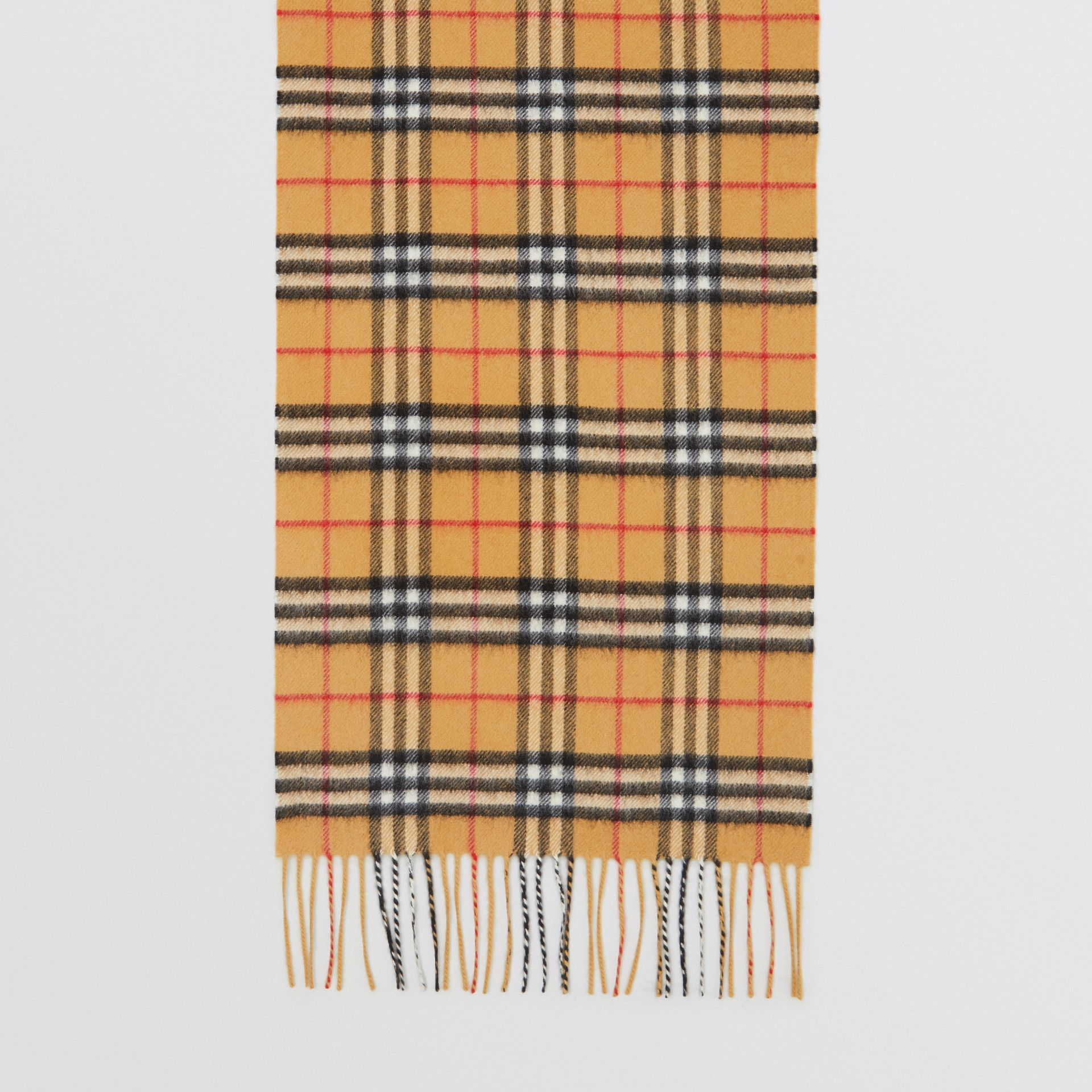 The Classic Vintage Check Cashmere Scarf in Antique Yellow | Burberry Singapore - gallery image 2