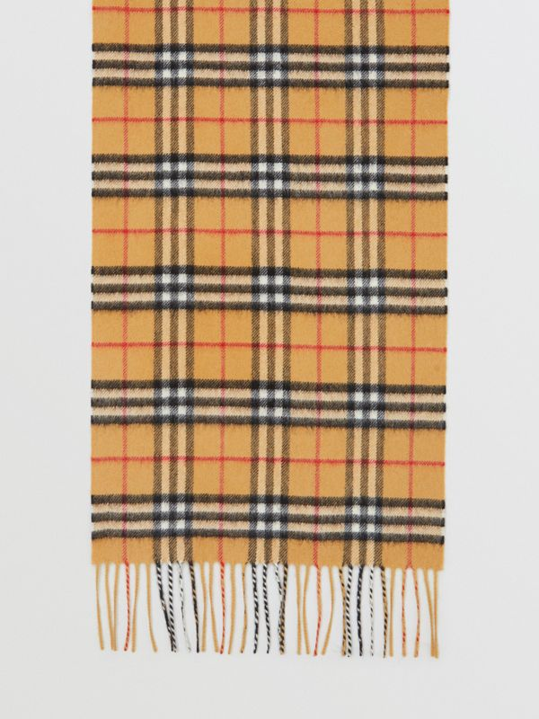 The Classic Vintage Check Cashmere Scarf in Antique Yellow | Burberry Singapore - cell image 2