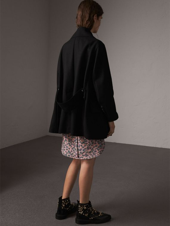Wool Blend Pea Coat in Black - Women | Burberry - cell image 2