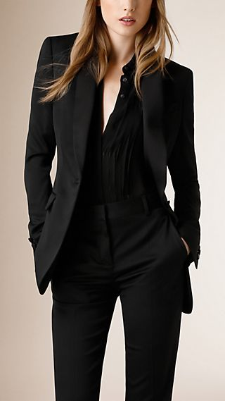 Satin-Lapel Stretch Wool Jacket