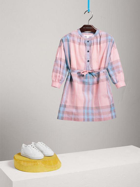 Check Cotton Shirt Dress in Ice Pink
