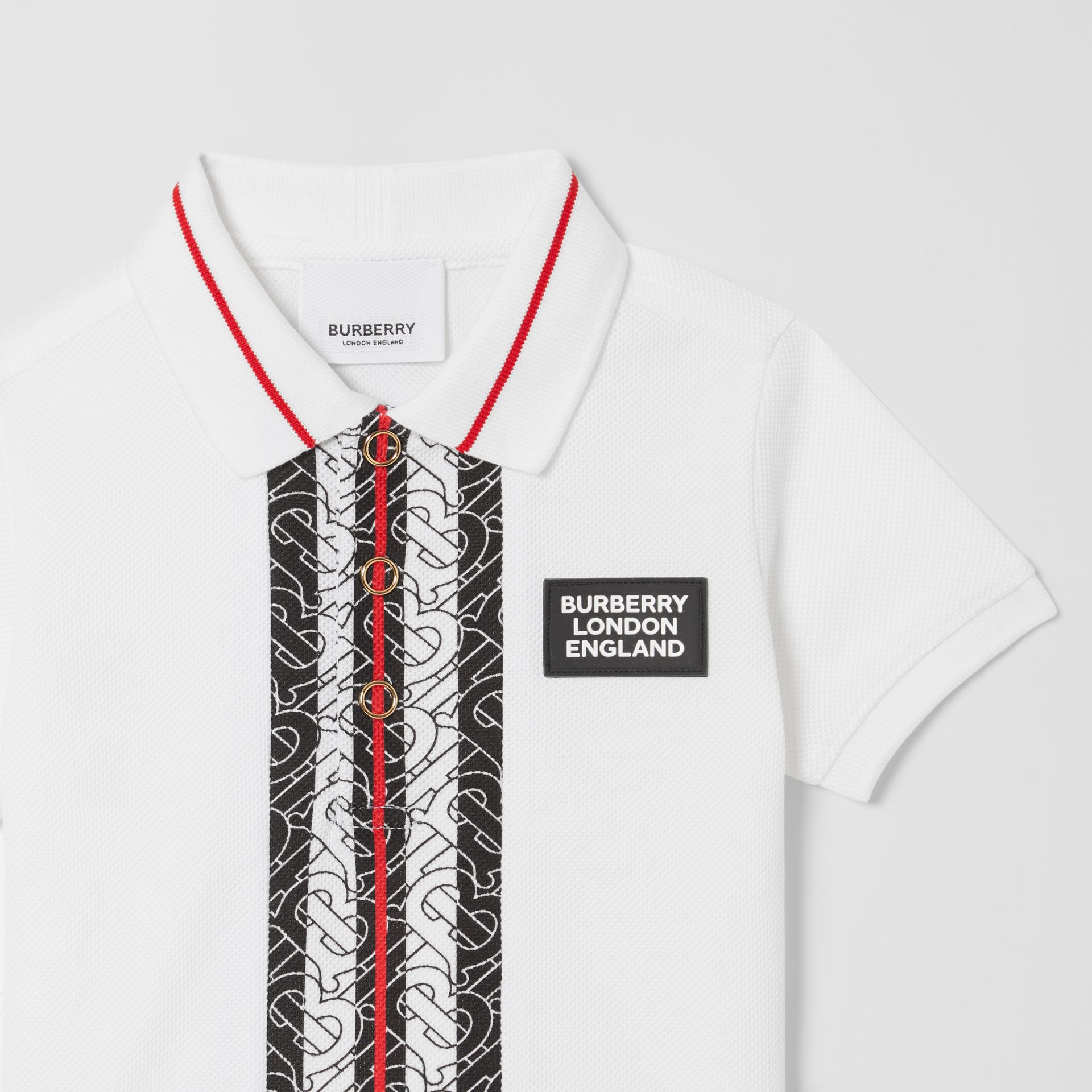 Monogram Stripe Cotton Piqué Polo Shirt in White - Children   Burberry - gallery image 4