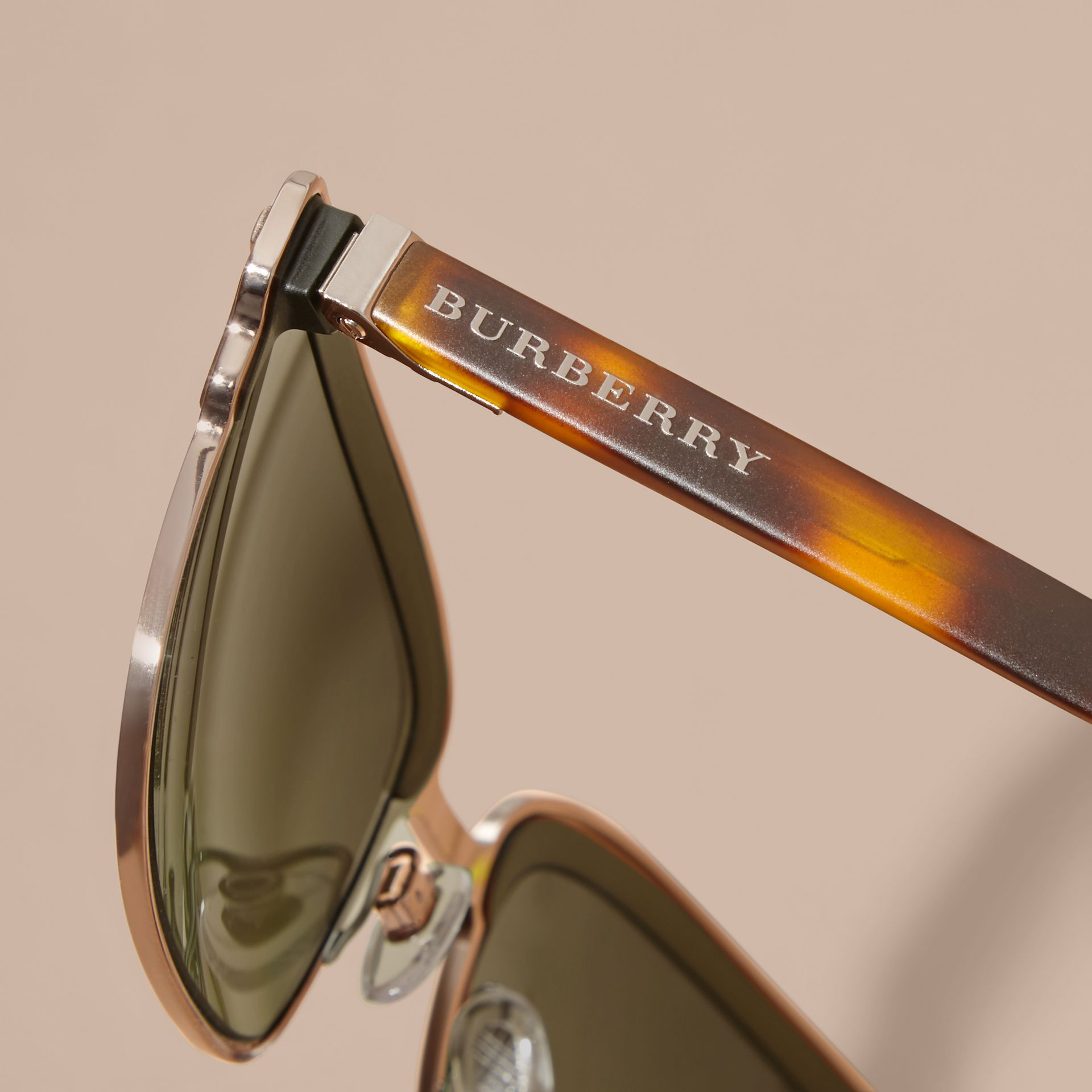 Textured Front Square Frame Sunglasses in Dark Olive - Men | Burberry Australia - gallery image 2