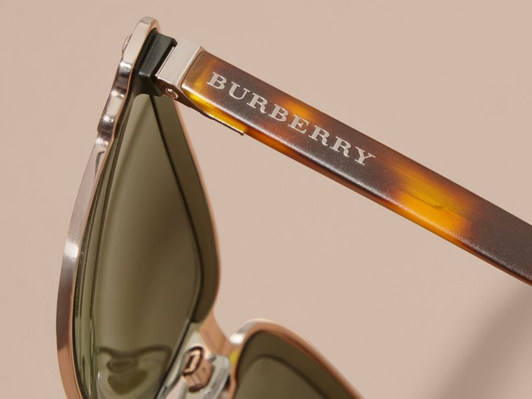 Textured Front Square Frame Sunglasses in Dark Olive - Men | Burberry - cell image 1