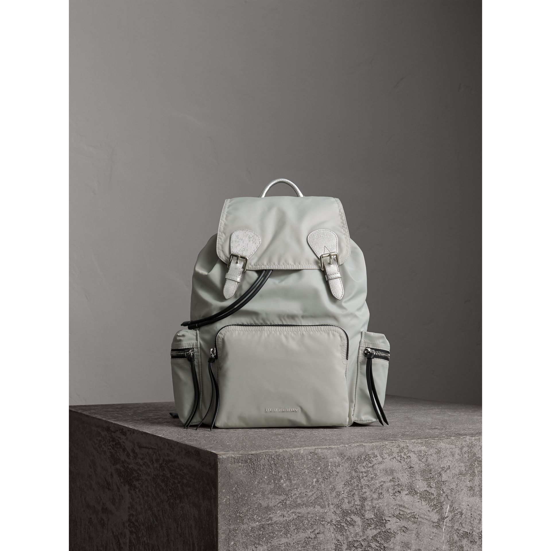 The Large Rucksack in Technical Nylon and Leather in Pale Stone/silver - Women | Burberry United Kingdom - gallery image 1