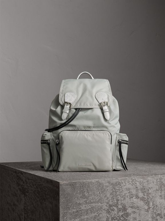 The Large Rucksack in Technical Nylon and Leather in Pale Stone/silver - Women | Burberry United Kingdom - cell image 1
