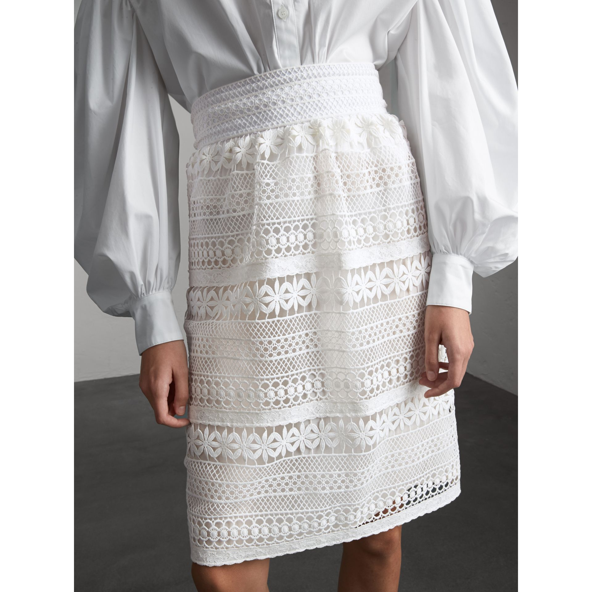 Macramé Lace Skirt in White - Women | Burberry - gallery image 6