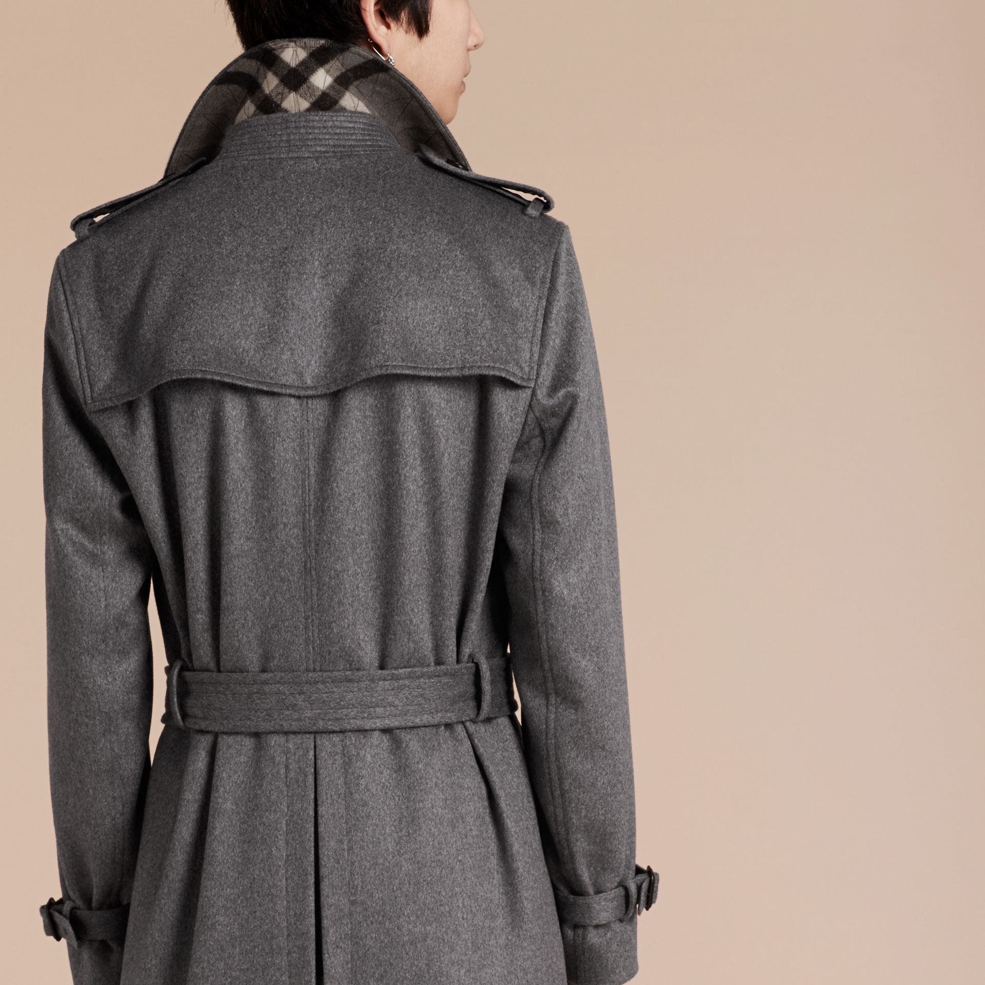 Cashmere Trench Coat Dark Grey Melange - gallery image 2