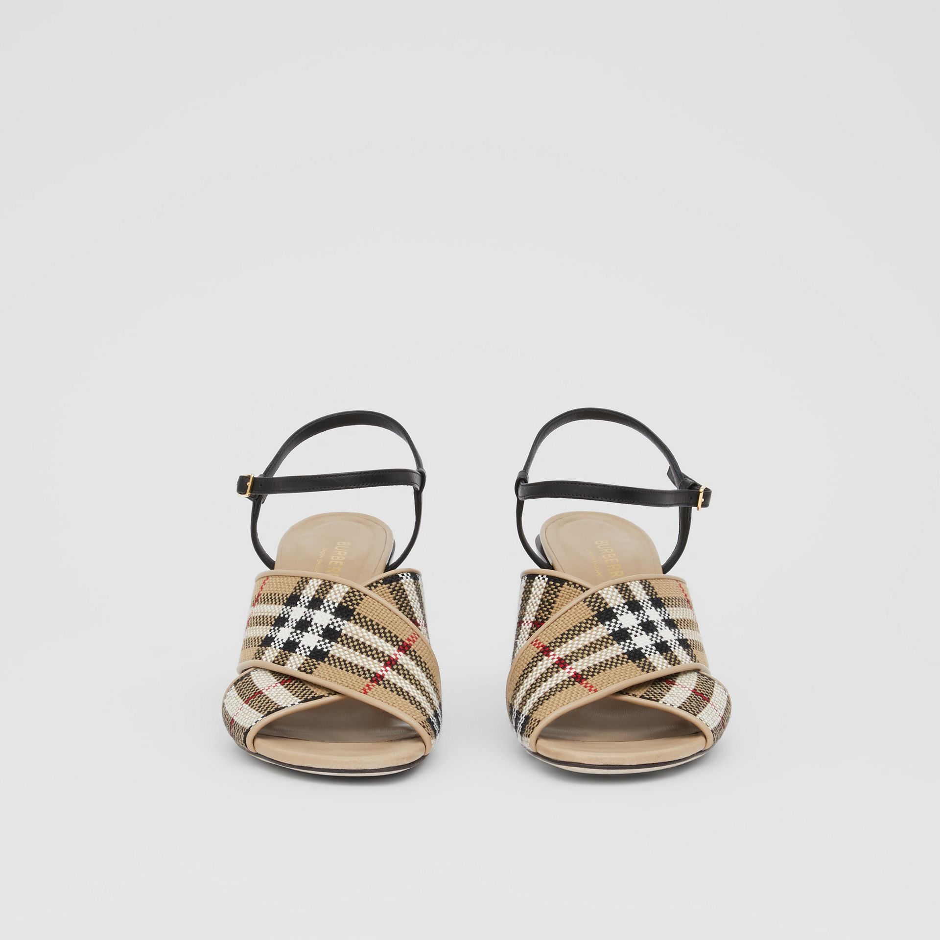 Latticed Cotton and Leather Block-heel Sandals in Archive Beige/black - Women | Burberry United Kingdom - gallery image 3