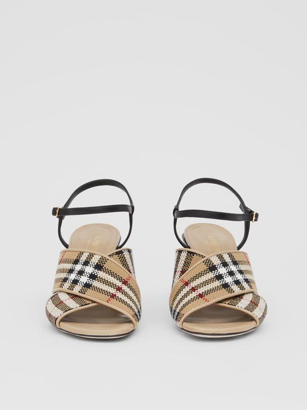 Latticed Cotton and Leather Block-heel Sandals in Archive Beige/black - Women | Burberry United Kingdom - cell image 3