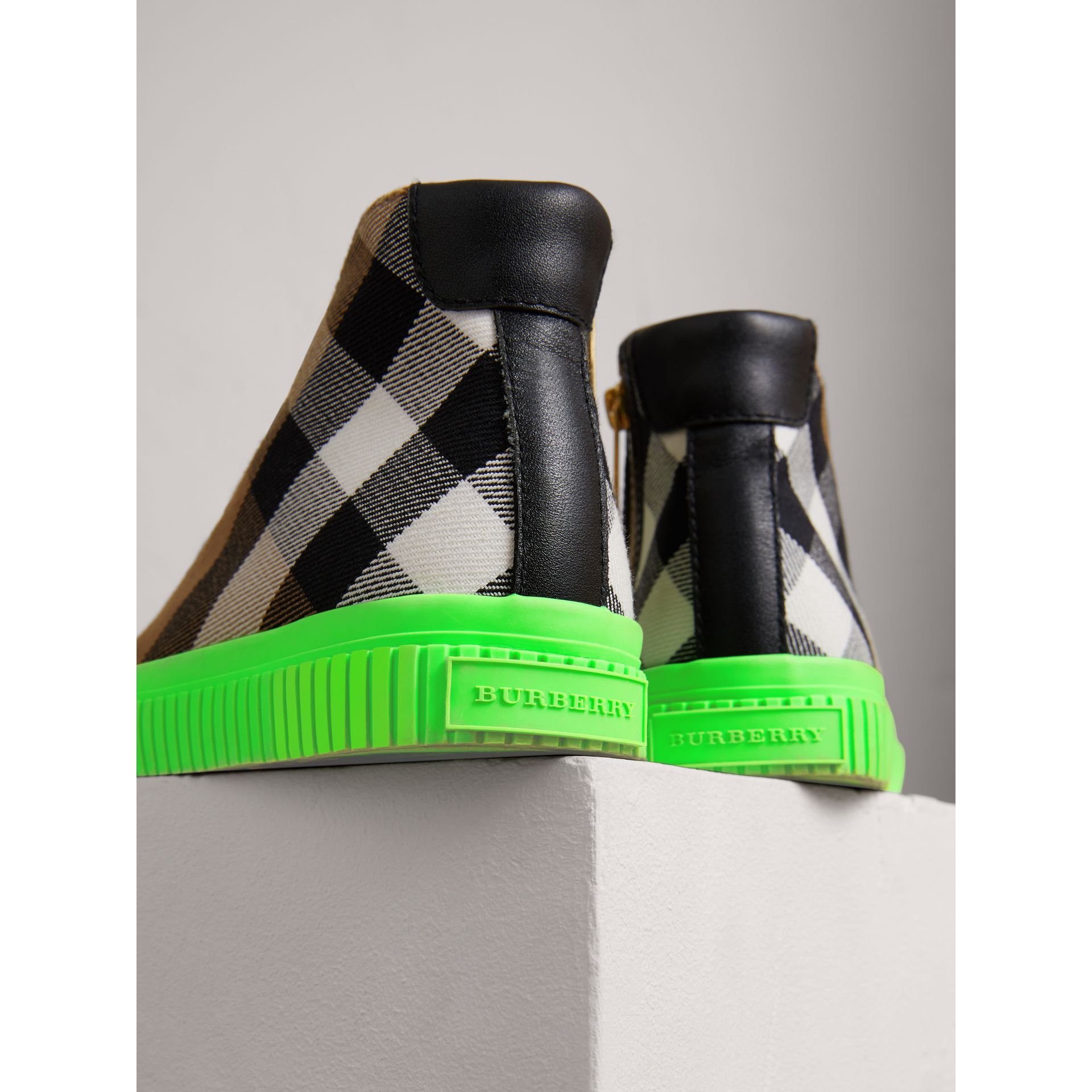 House Check and Leather High-top Sneakers in Classic/neon Green | Burberry - gallery image 1