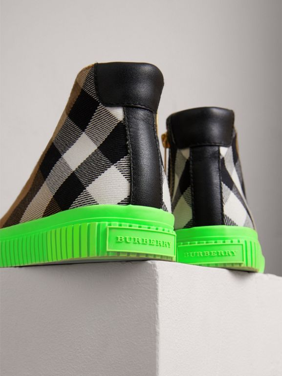 House Check and Leather High-top Sneakers in Classic/neon Green | Burberry - cell image 1