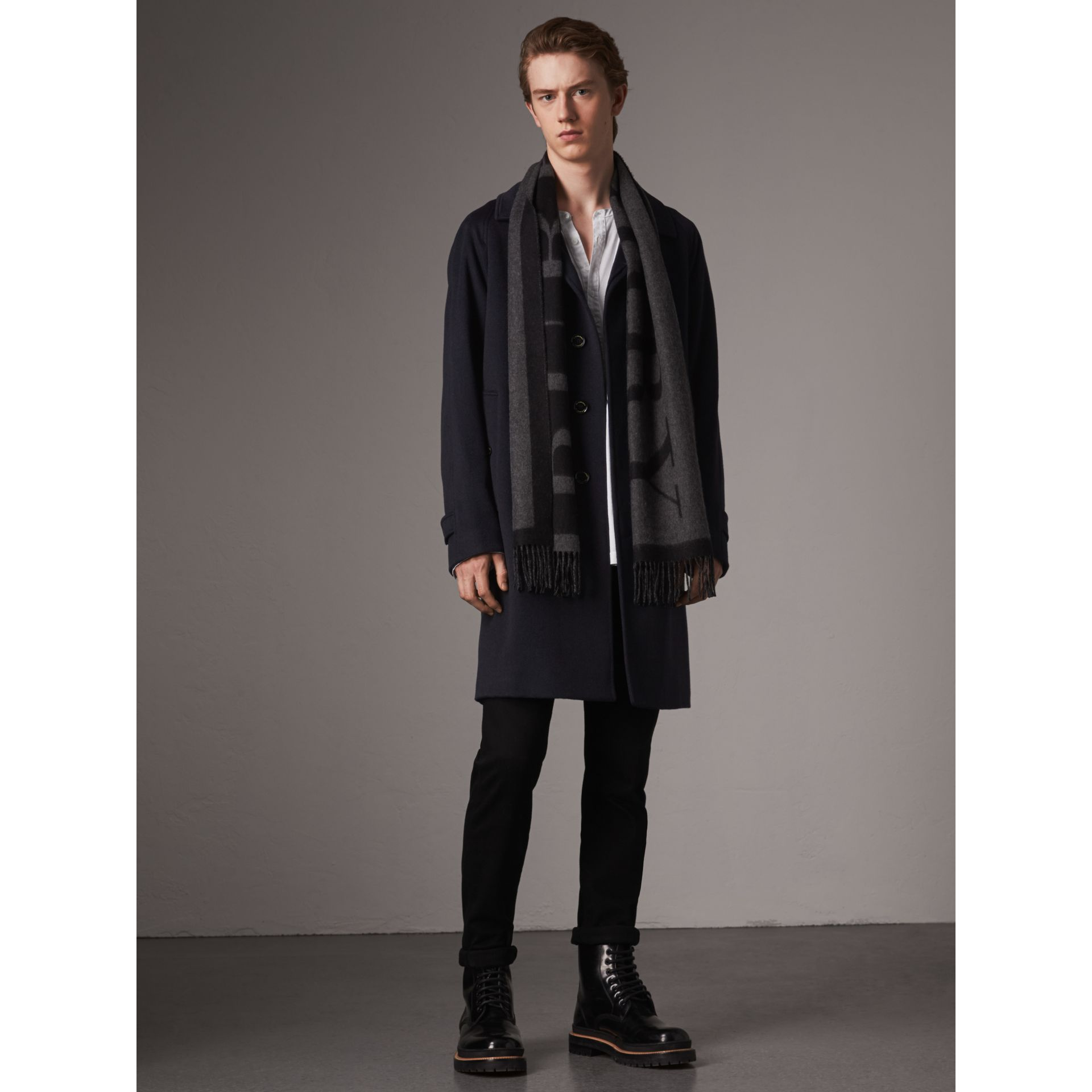 Cashmere Car Coat in Navy - Men | Burberry - gallery image 7