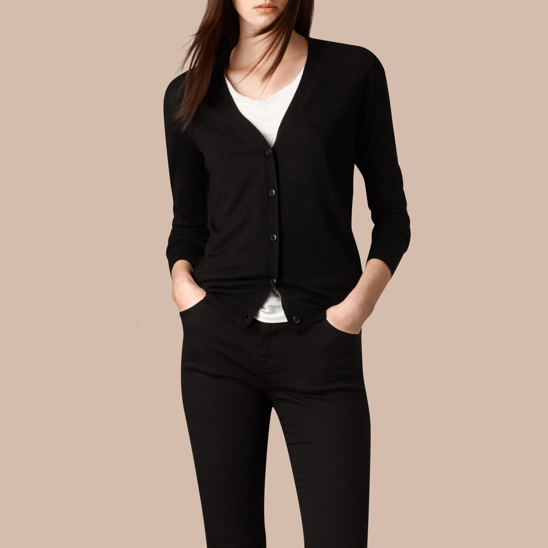 Check Detail Merino Wool Cardigan in Black - gallery image 1