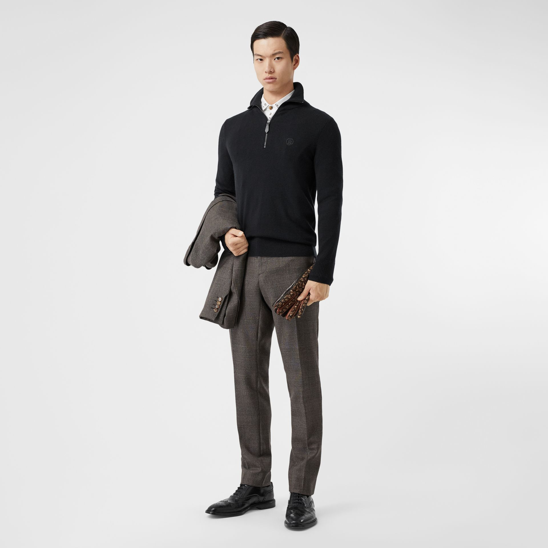 Monogram Motif Cashmere Funnel Neck Sweater in Black - Men | Burberry - gallery image 0
