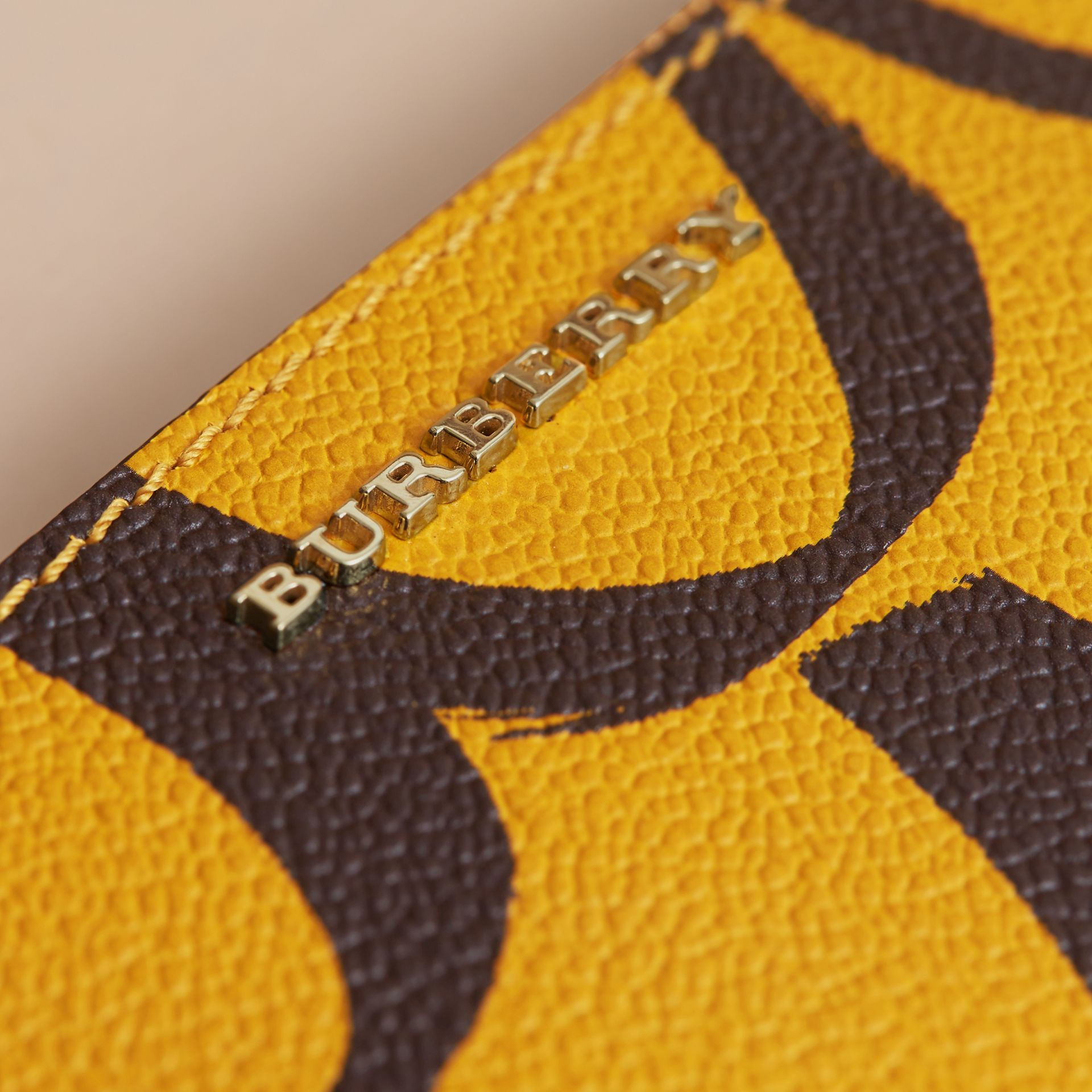 Trompe L'oeil Print Leather Pouch in Bright Straw - Women | Burberry - gallery image 2