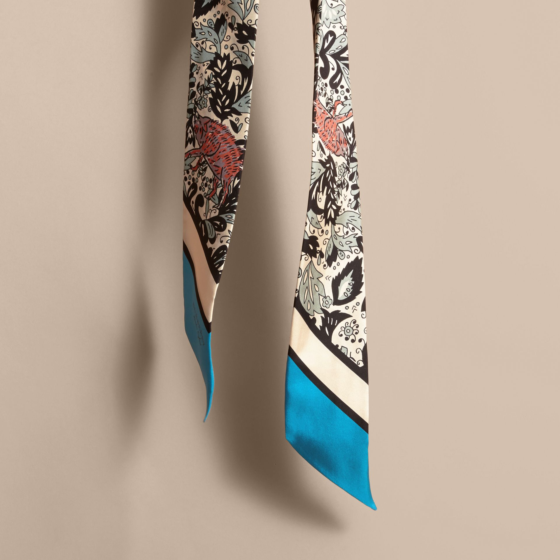 Beasts Print Silk Slim Scarf in Pale Blue Carbon - Women | Burberry United States - gallery image 4