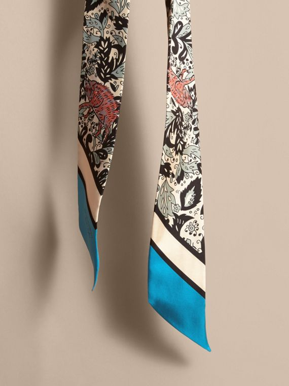 Beasts Print Silk Slim Scarf in Pale Blue Carbon - Women | Burberry - cell image 3