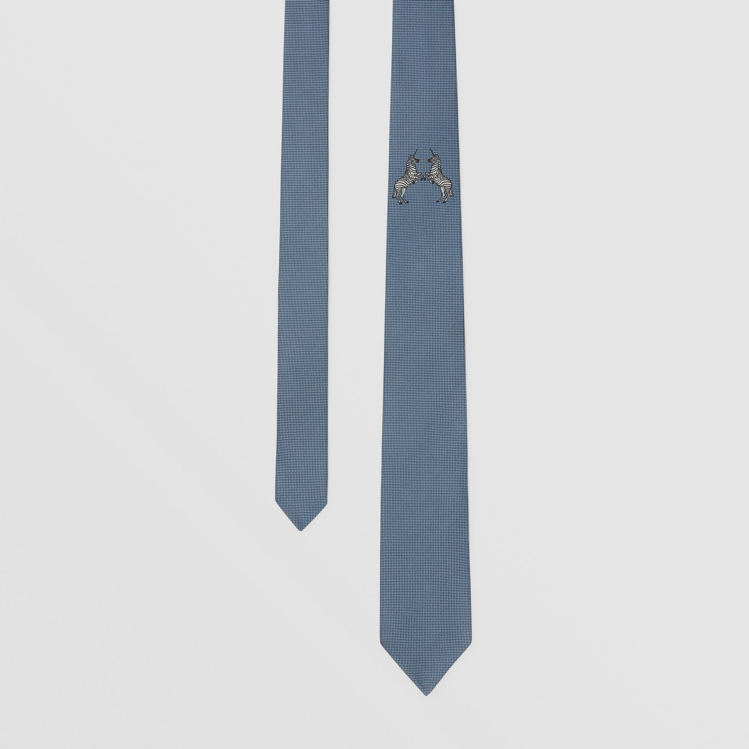 Classic Cut Embroidered Zebra Silk Tie in Dusty Bluebell - Men | Burberry United States - 1