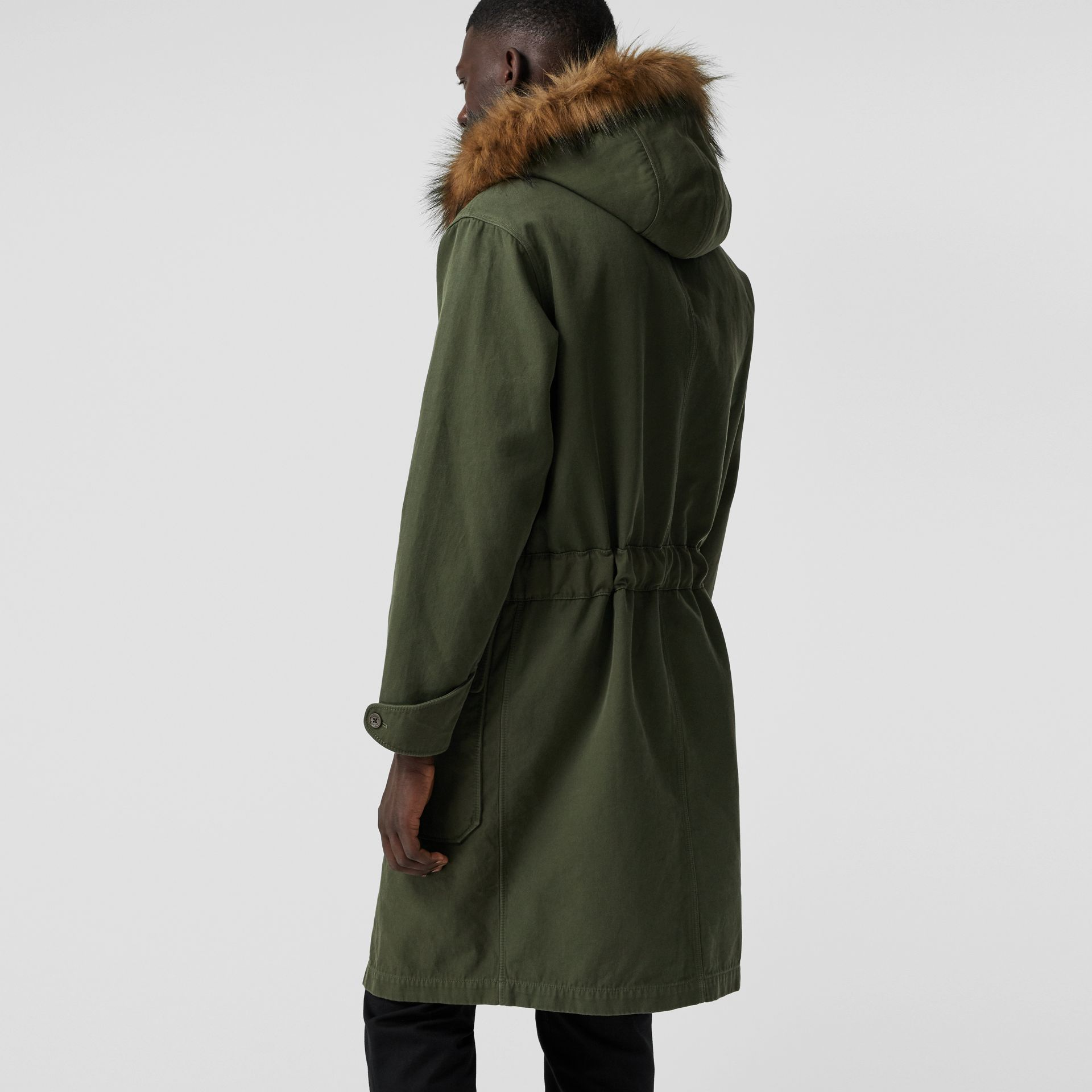 Double-faced Cotton Silk Hooded Parka with Warmer in Olive - Men | Burberry - gallery image 2