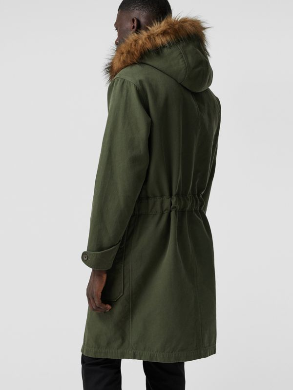 Double-faced Cotton Silk Hooded Parka with Warmer in Olive - Men | Burberry - cell image 2