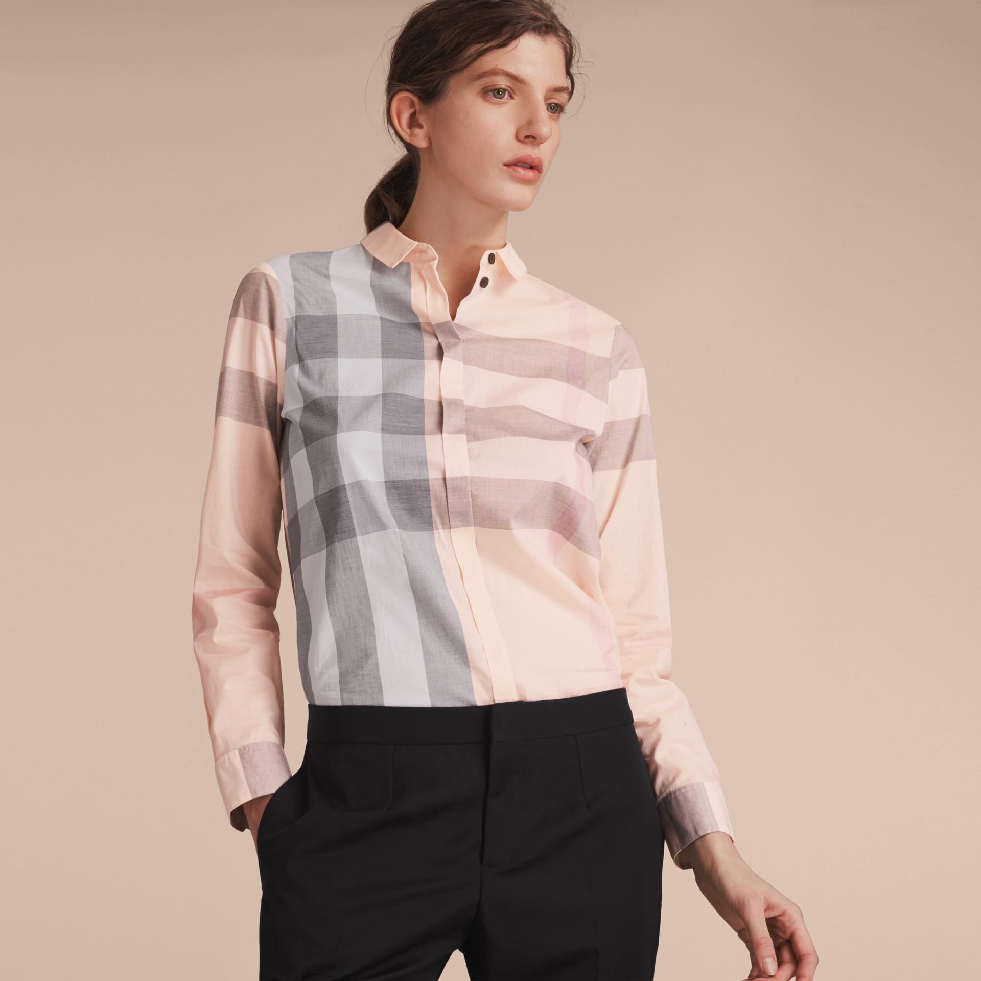 Check Cotton Shirt Apricot - gallery image 6