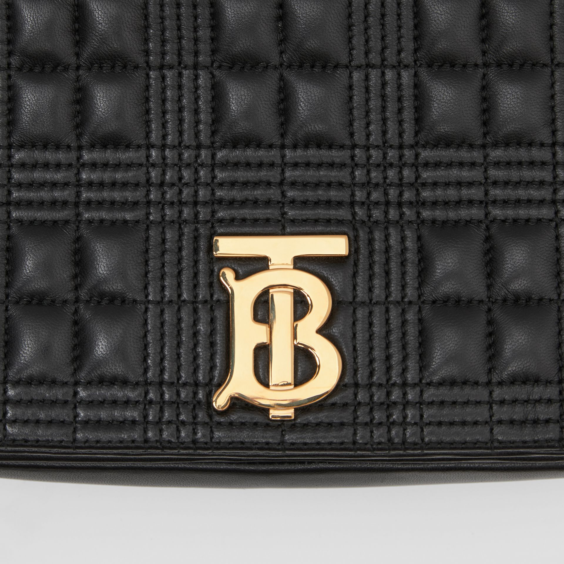 Small Quilted Check Lambskin Lola Bag in Black - Women | Burberry - gallery image 1