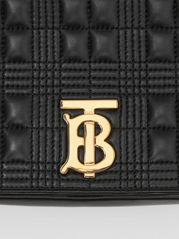 Small Quilted Check Lambskin Lola Bag in Black - Women | Burberry - cell image 1