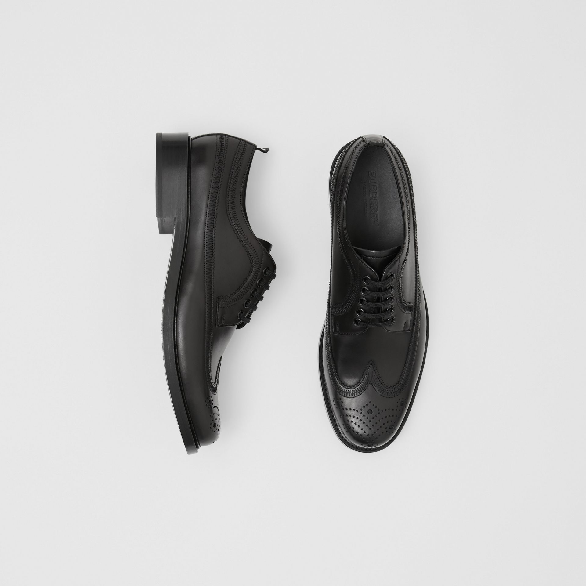 Brogue Detail Leather Derby Shoes in Black - Men | Burberry - gallery image 0