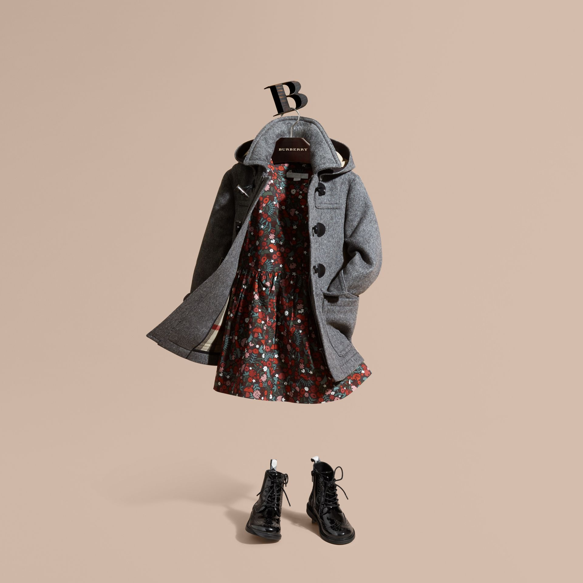 Wool Duffle Coat with Check-lined Hood in Mid Grey Melange - Girl | Burberry Canada - gallery image 1
