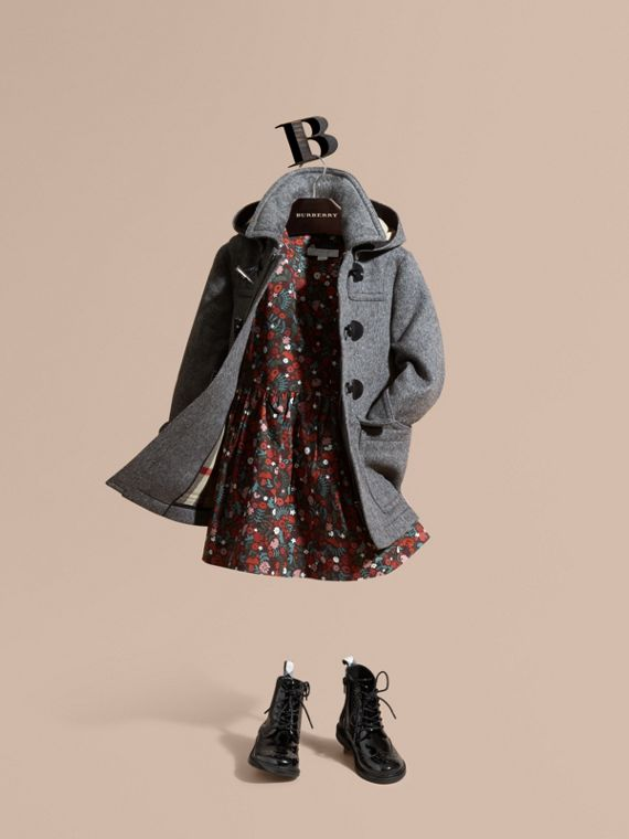 Wool Duffle Coat with Check-lined Hood in Mid Grey Melange