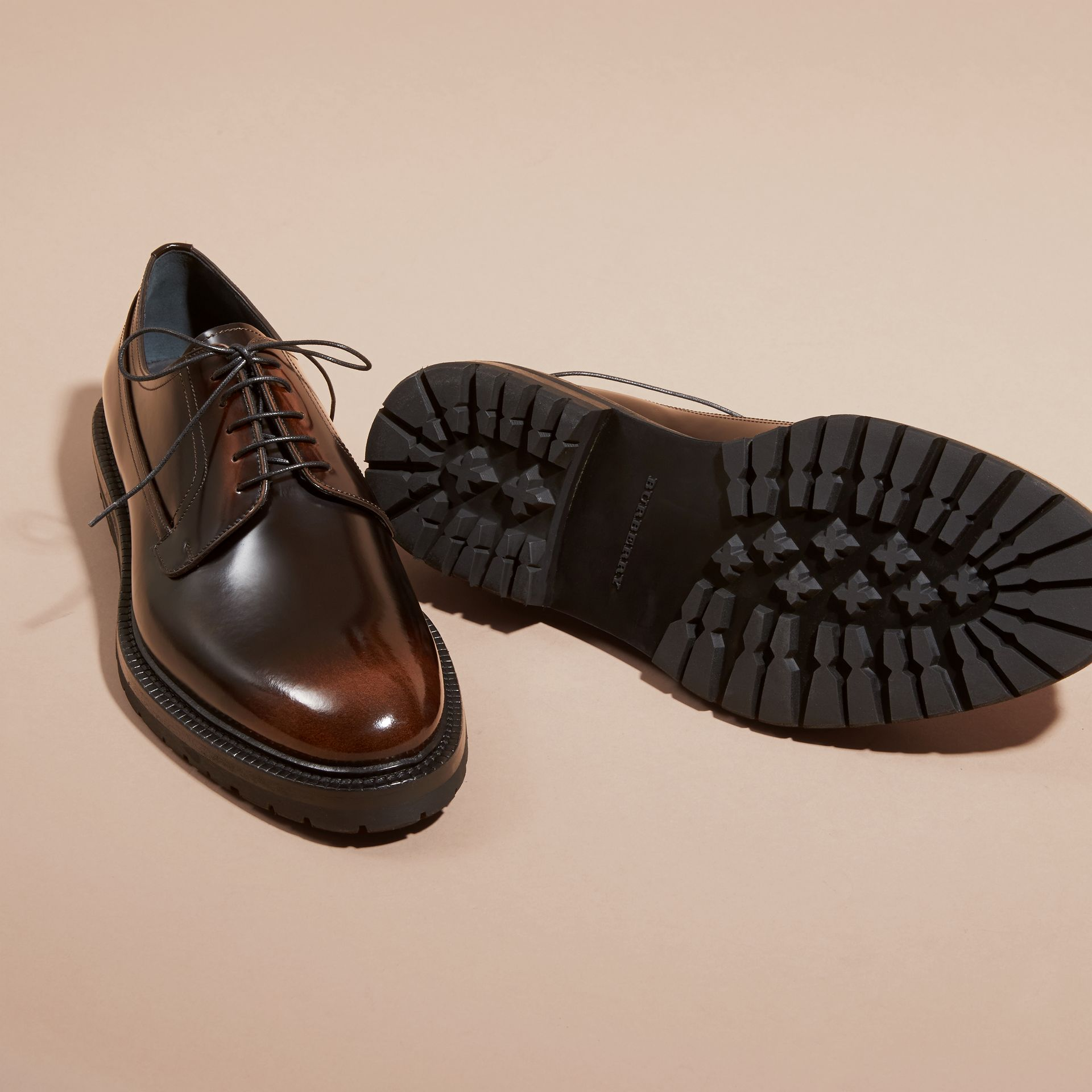 Burnished Leather Derby Shoes in Bitter Chocolate - gallery image 5