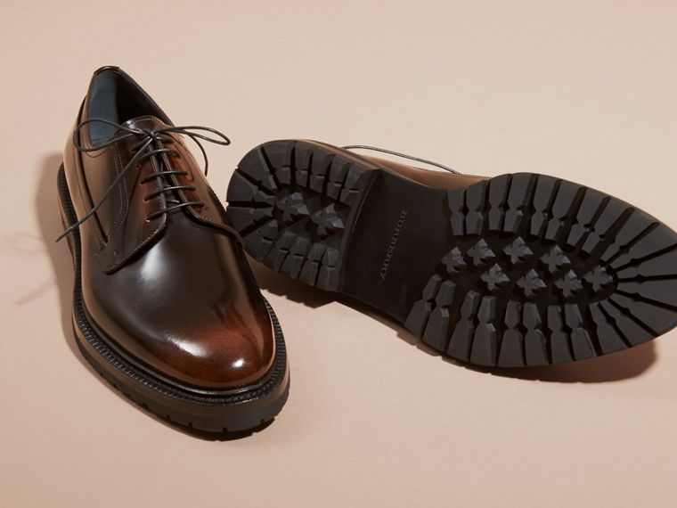 Burnished Leather Derby Shoes in Bitter Chocolate - cell image 4