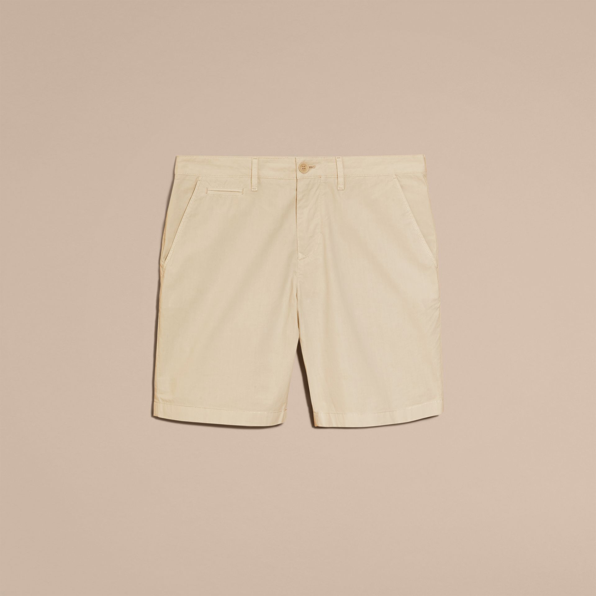 Cotton Poplin Chino Shorts in Stone - Men | Burberry - gallery image 4