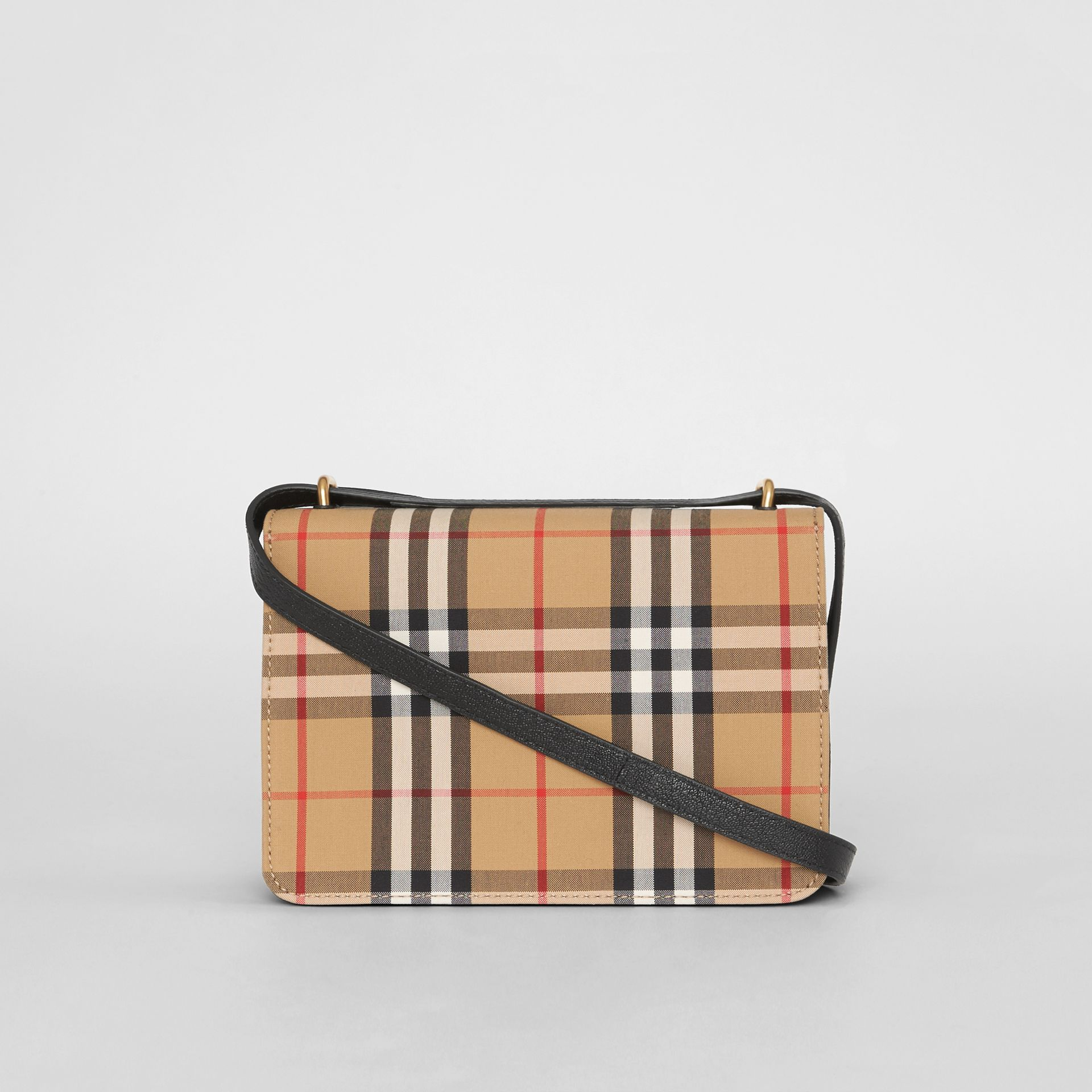 The Small Vintage Check and Leather D-ring Bag in Black/antique Yellow - Women | Burberry United States - gallery image 7