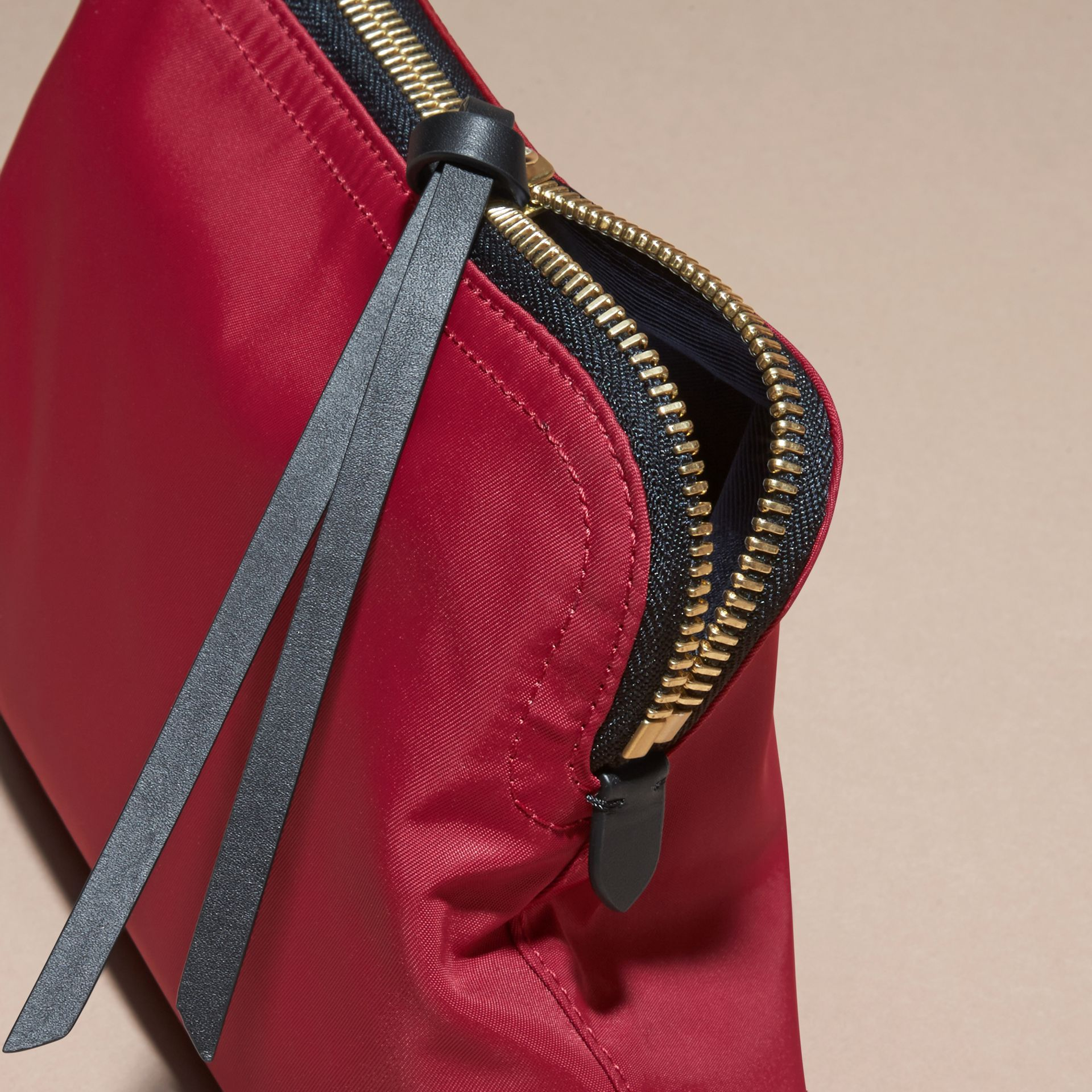 Large Zip-top Technical Nylon Pouch Parade Red - gallery image 5
